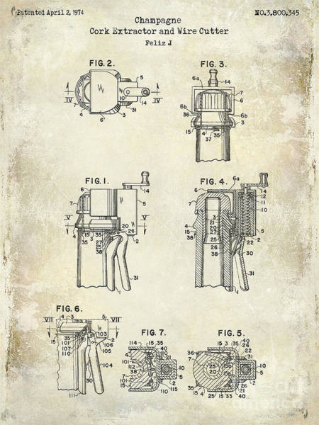 Dom Wall Art - Photograph - Champagne  Cork Extractor And Wire Cutter Patent Drawing by Jon Neidert