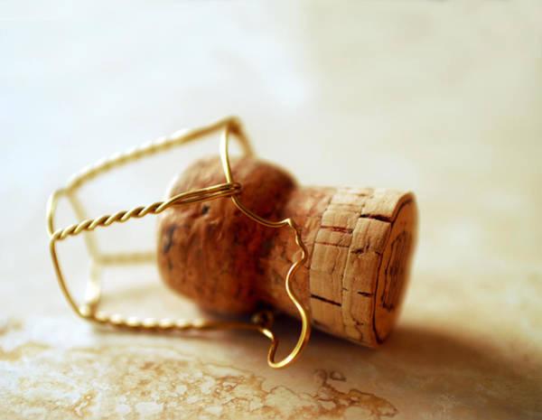 Gold Photograph - Champagne Cork by Jon Neidert