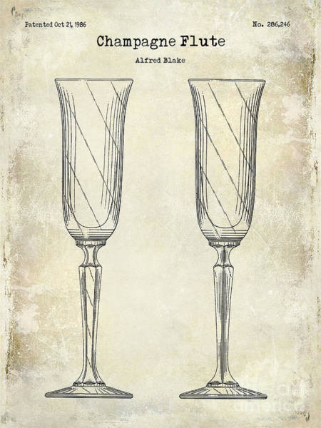 Cigar Photograph - Champagne Flute Patent Drawing  by Jon Neidert