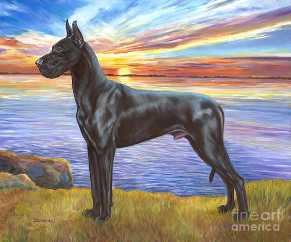 Black Great Dane Painting - Champion Coal by Catherine Garneau