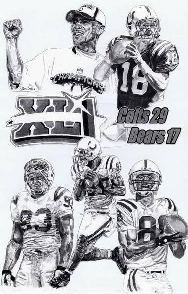 Super Bowl Drawing - Champion Colts by Jonathan Tooley