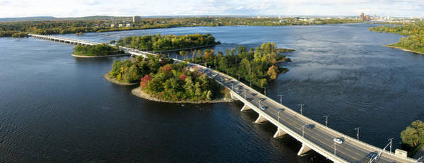Photograph - Champlain Bridge Aerial Panorama by Rob Huntley