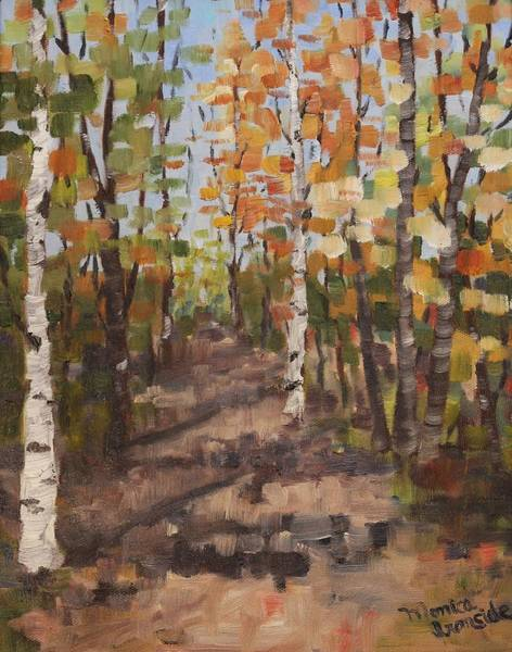 Painting - Champlain Road Fall Walking Trail by Monica Ironside