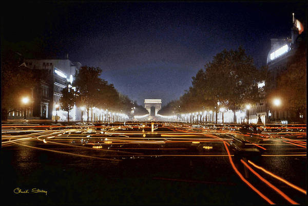 Photograph - Champs Elysees At Night by Chuck Staley