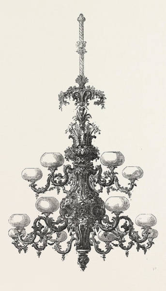 Early American History Drawing - Chandelier by American School
