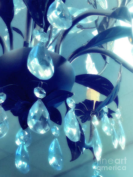 Chandelier Photograph - Chandelier Photo - Ethereal Dreamy Surreal Blue Teal Aqua Sparkling Chandelier Crystals by Kathy Fornal
