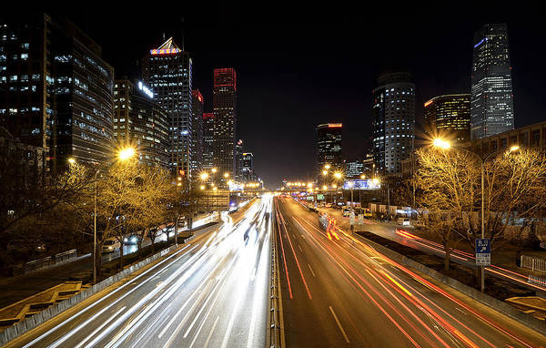 Changan Photograph - Changan Street - Central Business District - Beijing China by Brendan Reals