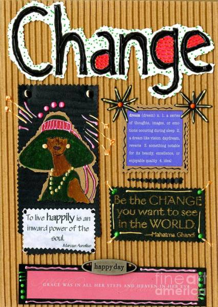 Wall Art - Mixed Media - Change - Handmade Card by Angela L Walker