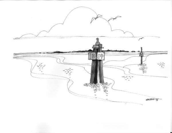 Drawing - Channel Markers Ocracoke Inlet by Richard Wambach
