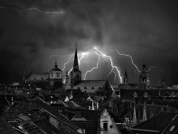 Electricity Photograph - Chaos In The Sky Of Bruges by Yvette Depaepe