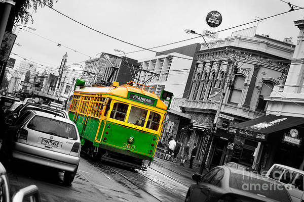 Green Car Photograph - Chapel St Tram by Az Jackson
