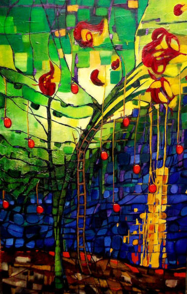 Colored Glass Painting - Chapple Tree by Liz Weibler