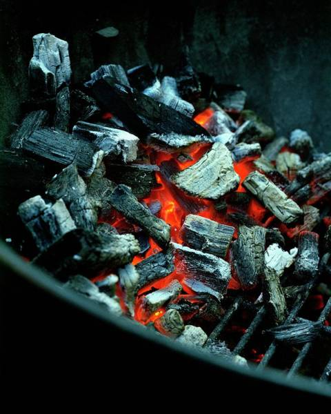 Barbecue Photograph - Charcoal Burning On A Grill by Romulo Yanes