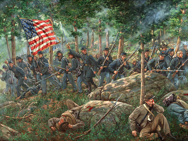 Gettysburg Wall Art - Painting - Charge Of The 20th Maine - Joshua L. Chamberlain Leading The 20th Maine Regiment On Little Round Top by Mark Maritato