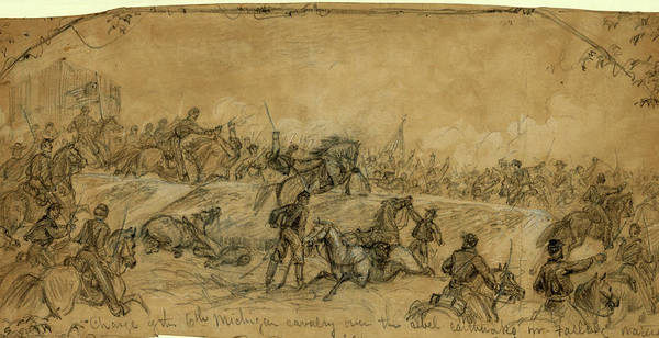 Michigan Drawing - Charge Of The 6th Michigan Cavalry Over The Rebel by Quint Lox