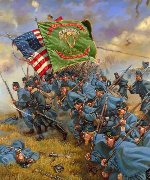 Fredericksburg Wall Art - Painting - Charge Of The Irish Brigade - 28th Massachusetts Infantry - Battle Of Fredericksburg  by Mark Maritato