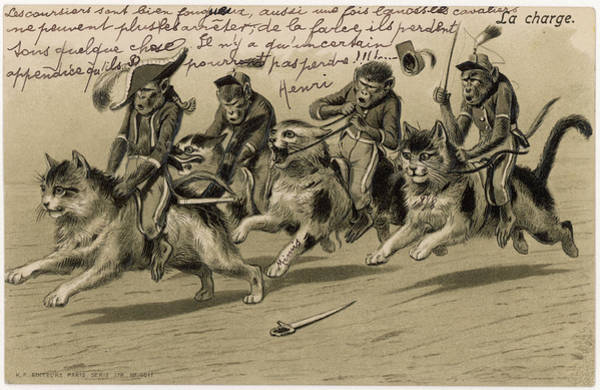 Brigade Drawing - 'charge Of The Monkey Brigade'  Monkeys by Mary Evans Picture Library
