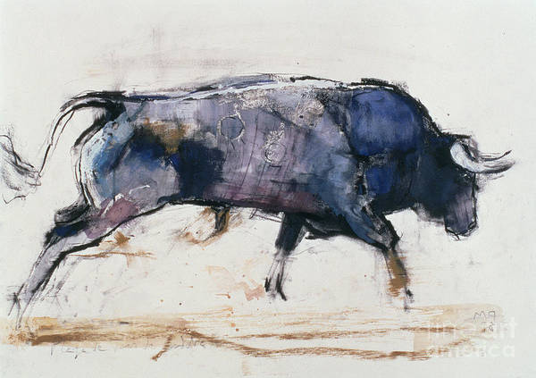 Muscular Wall Art - Painting - Charging Bull by Mark Adlington