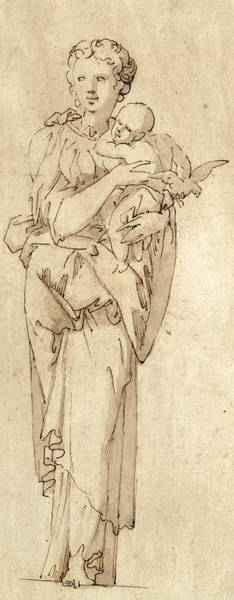 Wall Art - Drawing - Charity Or The Virgin And Child by Geoffroy Dumonstier