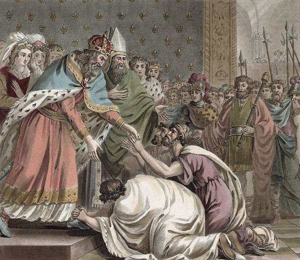 Royal Court Drawing - Charlemagne Receives The Ambassadors by Jean Claude Naigeon