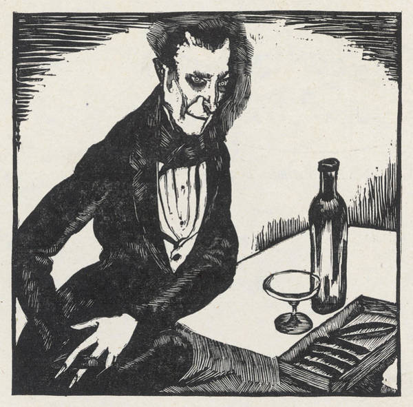 Wall Art - Drawing - Charles Baudelaire Depicted  Drinking by Mary Evans Picture Library