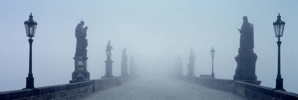 Join Wall Art - Photograph - Charles Bridge In Fog Prague Czech by Panoramic Images