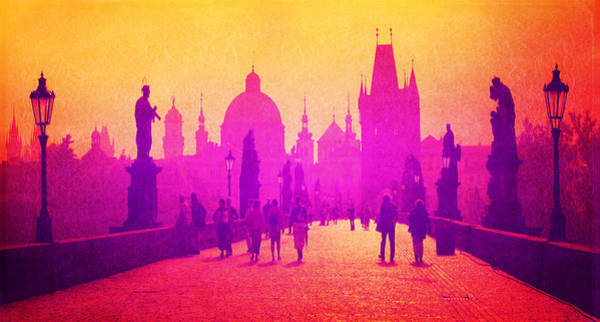 Mixed Media - Charles Bridge Prague by MB Dallocchio