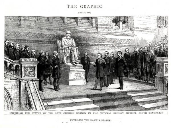 Addressing Photograph - Charles Darwin Statue Unveiling by Natural History Museum, London/science Photo Library