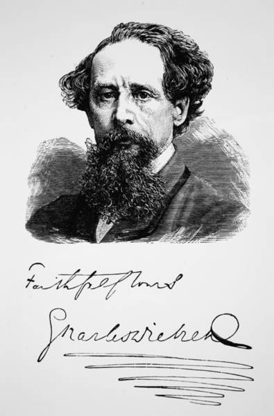 Charles Drawing - Charles Dickens by English School