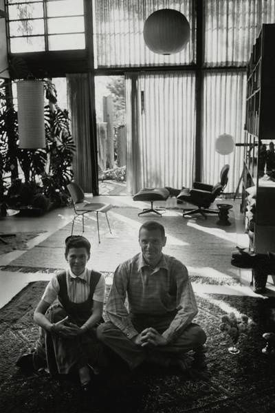 Floor Lamp Photograph - Charles Eames And Ray Eames by John Bryson