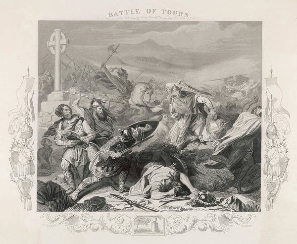 Wall Art - Drawing - Charles Martel Halts The  Advance by Mary Evans Picture Library