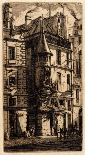 Wall Art - Drawing - Charles Meryon French, 1821 - 1868. House With A Turret by Litz Collection
