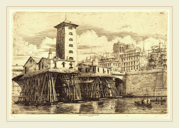 Notre Dame Drawing - Charles Meryon French, 1821-1868, La Pompe Notre-dame by Litz Collection