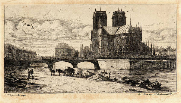 Notre Dame Drawing - Charles Meryon French, 1821 - 1868. Labside De Notre Dame by Litz Collection