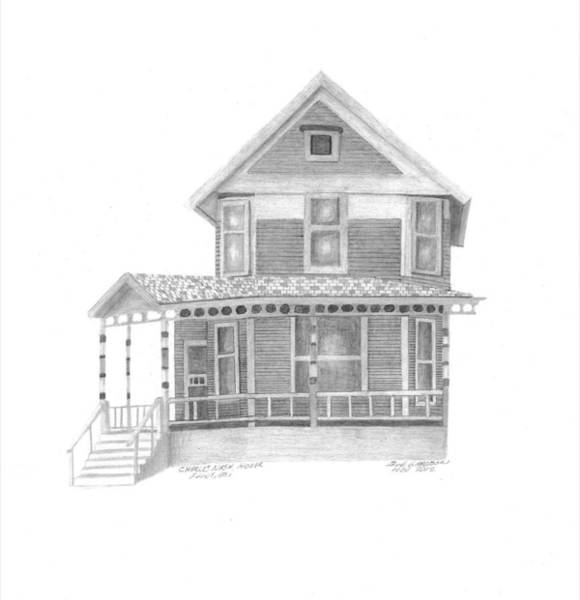 Land Mark Drawing - Charles Nash House  by Bob and Carol Garrison