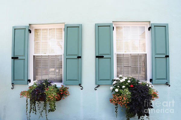 Rainbow Row Photograph - Charleston Aqua Teal French Quarter Rainbow Row Flower Window Boxes by Kathy Fornal