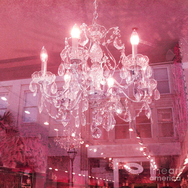 Pink Photograph - Charleston Crystal Chandelier - Sparkling Pink Crystal Chandelier Art Deco by Kathy Fornal