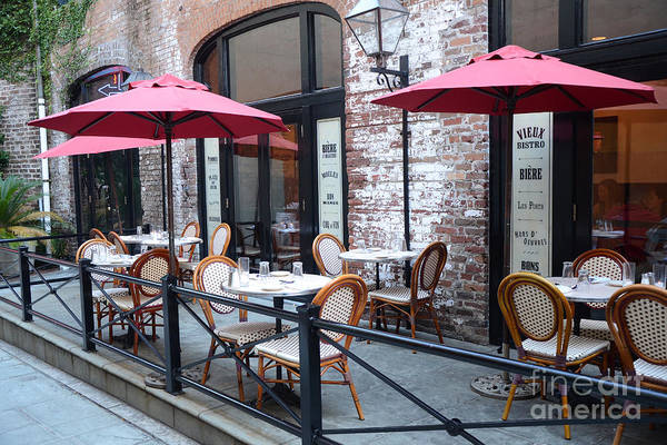 Outdoor Cafe Photograph - Charleston French Cafe Bistro - Rue De Jean French Restaurant Cafe Bistro Charleston South Carolina by Kathy Fornal