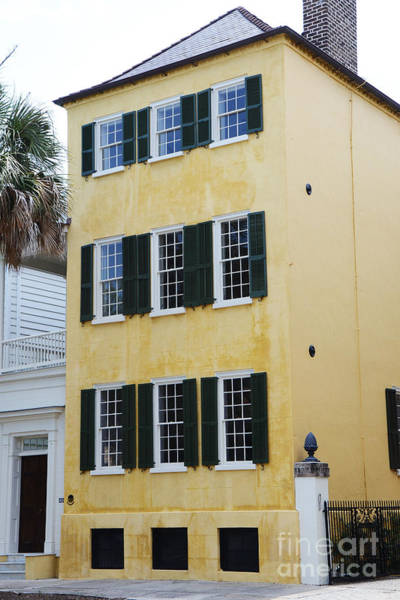 Rainbow Row Photograph - Charleston French Quarter Historical District Yellow House With Black Shutters - Historical Building by Kathy Fornal