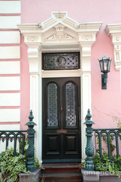 Wall Art - Photograph - Charleston French Quarter Pink House - Charleston French Architecture Pink Black And White Door by Kathy Fornal