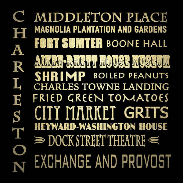 Famous Places Digital Art - Charleston Sc Famous Landmarks by Patricia Lintner