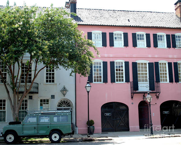 Rainbow Row Photograph - Charleston Rainbow Row Historical District Pink Black Architecture Street Scene  by Kathy Fornal