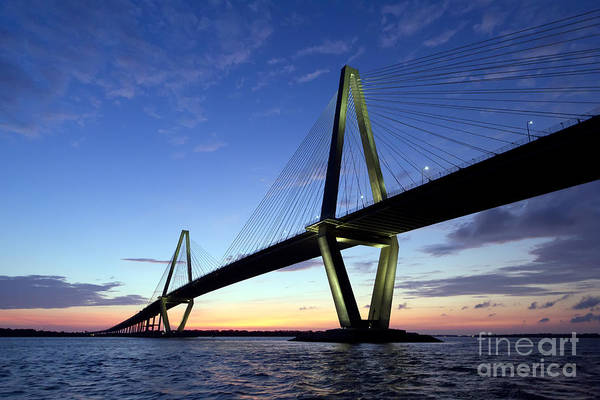Cable-stayed Bridge Photograph - Charleston Ravenel Bridge Sunset by Dustin K Ryan