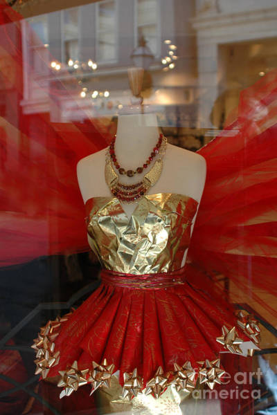 Window Shopping Photograph - Charleston Red And Gold Holiday Dress Shop by Kathy Fornal