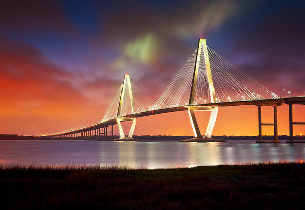Wire Photograph - Charleston Sc - Arthur Ravenel Jr. Bridge Cooper River by Dave Allen