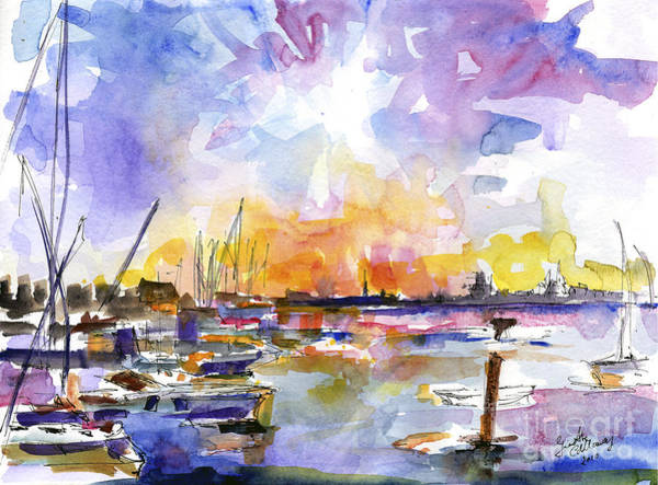 Painting - Charleston Skyline Sunset Mt Pleasant Marina by Ginette Callaway
