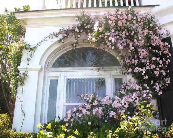 Wall Art - Photograph - Charleston South Carolina Window Climbing Roses by Kathy Fornal