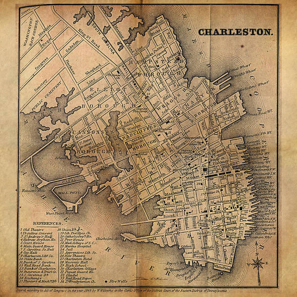 Painting - Charleston Vintage Map No. I by James Christopher Hill