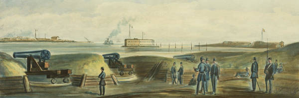 Shooting Drawing - Charlestons Defense Circa 1863 by Aged Pixel