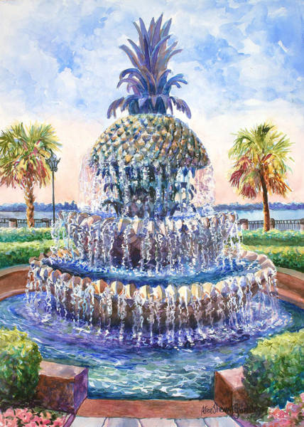 Brick Painting - Charleston's Pineapple Fountain by Alice Grimsley